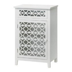 n/a - Meadow Lane Cabinet - Don't hide your beautiful things!  This gorgeous cabinet features two shelves and a pullout drawer to keep your precious possessions orderly, but their fantastic die-cut floral faces make this unique storage cabinet a show-stopping show case of great design.  The white-painted wood will brighten your bathroom or make your bedside cheery!