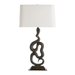 """Arteriors - Heath Lamp, Left - This bold, sculptural snake is cast in iron. Perfect as a pair, both left and right facing. The rectangular shade is made of off-white linen and is lined in off-white cotton with 1"""" flat trim on the top and bottom. Takes one 150 watt three-way bulb."""
