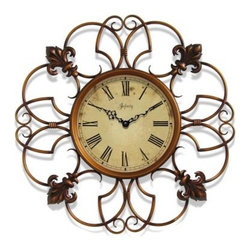 Infinity Instruments Province 24-Inch Antique Wall Clock - Be enchanted by the Infinity Instruments Province 24-Inch Antique Wall Clock. This clock has a copper-finished case with graceful fleur de lis design that is a simple, lovely decorative piece for your wall. This timepiece is beautifully crafted of durable iron and showcases an artistically weathered antique dial with Roman numerals and ornate hour hands.About Infinity InstrumentsWhen you need a clock for your home, Infinity Instruments offers infinite possibilities of high style at great prices. Located in La Crosse, Wisconsin, Infinity manufactures a huge selection of decorative clocks for both indoor and outdoor use. You can find clocks designed to make a bold statement in today's larger scale living areas, as well as clocks that tuck easily onto a shelf, desk, or table.Infinity clock faces range from 10 to 38 inches and come in a dazzling array of traditional, contemporary, retro, and thematic styles, even handmade glass clocks from Italy. Infinity excels at creative use of materials such as resin, wood, wicker, and metal to make it easy to add color and vibrant personal style to your living space. An Infinity clock is more than just an accessory; it's a piece of art that you use every day.