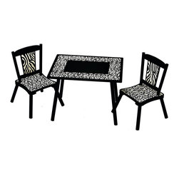 Levels of Discovery - Wild Side Table and 2 Chair Set - Cheetah and zebra prints in black and ivoryCheetah and zebra prints. Three piece set. All products have instructions included for assembly. .