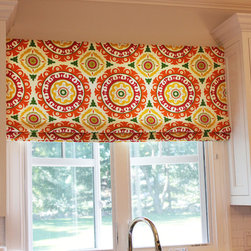 Custom Window Treatments by Lynn Chalk - Custom Roman Shade in Robert Allen Bold Floral in Mango