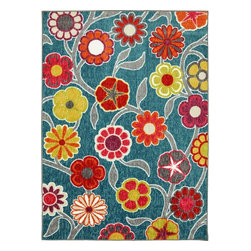 Mohawk Home - Woodgrain Flower Medallions Teal Floral 5' x 7' Mohawk Rug (11712) - Eye-catchingly vivid, this floral print is makes a bold whimsical statement.Action Backing