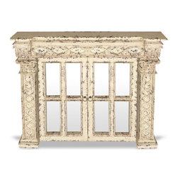 Custom Glass French Doors, French Bone Distressed with Espresso - Custom Glass French Doors, French Bone Distressed with Espresso