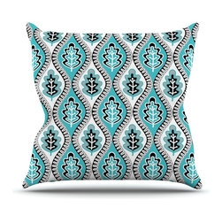 """Kess InHouse - Jacqueline Milton """"Oak Leaf - Turquoise"""" Floral Blue Throw Pillow (Outdoor, 26"""" - Decorate your backyard, patio or even take it on a picnic with the Kess Inhouse outdoor throw pillow! Complete your backyard by adding unique artwork, patterns, illustrations and colors! Be the envy of your neighbors and friends with this long lasting outdoor artistic and innovative pillow. These pillows are printed on both sides for added pizzazz!"""