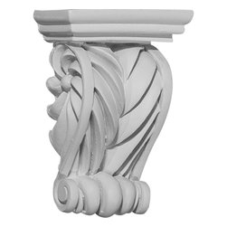 """Ekena Millwork - 2 5/8""""W x 1 3/8""""D x 3 5/8""""H Alexandria Corbel - 2 5/8""""W x 1 3/8""""D x 3 5/8""""H Alexandria Corbel. These corbels are truly unique in design and function. Primarily used in decorative applications urethane corbels can make a dramatic difference in kitchens, bathrooms, entryways, fireplace surrounds, and more. This material is also perfect for exterior applications. It will not rot or crack, and is impervious to insect manifestations. It comes to you factory primed and ready for your paint, faux finish, gel stain, marbleizing and more. With these corbels, you are only limited by your imagination."""
