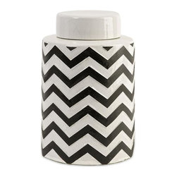 Imax Worldwide Home - Chevron Small Canister with Lid - Material: 100% Ceramic. 9.25 in. H x 6 in. W x 6 in. . Weight: 5.41 lbs.The most popular twist on stripes covers this small lidded canister that looks great in a variety of spaces.