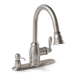"""Premier - Sonoma Lead Free Pull Down Kitchen Faucet - Brushed Nickel - Single Lever Handle Pull-Down Kitchen Faucet Brushed Nickel Finish with On-deck Soap Dispenser1/2"""" IPS Connection."""