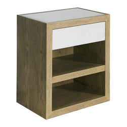 Kathy Kuo Home - Coltrane Hollywood Regency Limed Oak Mirror Glass Nightstand - Cool and polished, this modern nightstand is slim and sophisticated with some surprising storage. Contrasting mediums of mirror glass and limed oak veneer create visual interest. The discreet, white glass-front drawer holds small essentials and two square cubbyholes offer open storage.