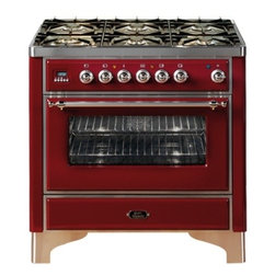"Ilve - UM906VGGRBS Majestic Series 36"" Freestanding Gas Range with 6 Sealed Burners  3. - Majestic Collection 36 Range with 6 Burners 35 Cu Ft Capacity European Convection Oven Dual Triple Ring Burner Infrared Broiler Digital Clock  Timer 2 Heavy Duty Racks Removable Oven Door and Rotisserie System with Plate Warming Drawer  Brass Trim"