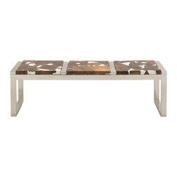 Benzara - Contemporary Style Stainless Steel Teak Wood Bench Home Decor - Description:
