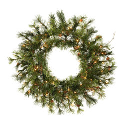 """Vickerman - Prelit Mixed Country Wreath 50CL (24"""") - 24"""" Mixed Country Pine Wreath With 90 Tips, 24 Cones, Grapevines, Ul 50 Clear Dura-Lit Lights"""