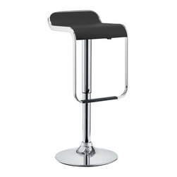 LexMod - LEM Piston Style Vinyl Bar Stool in Black - The LEM Style Bar Stool has sleek lines that would be equally impressive in a restaurant or at home. Perfect for entertaining guests at restaurants, your home bar, or for stylish seating around the kitchen counter.