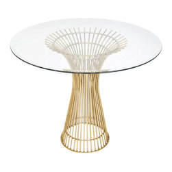 "Worlds Away - Worlds Away Gold Leaf Iron Dining Table Base with 36""Dia Glass Top POWELL 36 - Gold leaf iron table base with 36"" diameter beveled glass top. Glass is 3/8"" thick."