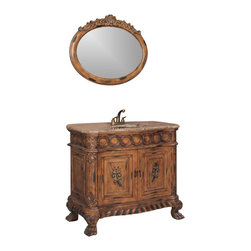 """Legion Furniture - 40.5 Inch Traditional  Single Sink Bathroom Vanity - This 40.5 inch traditional single sink bathroom vanity is a perfect center piece for your bathroom project.  This Antique Brown bathroom vanity features 2 doors, and a Brown Marble with brass under mount sink that is pre-drilled for a standard 4 inch spread single slot faucet (faucet not included). Large opening in back for easy plumbing installation.  Dimensions: 40.5""""W X 21""""D X 35""""H (Tolerance: +/- 1/4""""); Counter Top: Brown Marble; Finish: Antique Brown; Features: 2 Doors; Hardware: Antique Brass; Sink(s): 15.5"""" X 11.25"""" Under Mount Brass; Faucet: Pre-Drilled for Standard Three Hole 4"""" Center (Not Included); Assembly: Fully Assembled; Large cut out in back for plumbing; Included: Cabinet, Sink; Not Included: Faucet, Backsplash."""