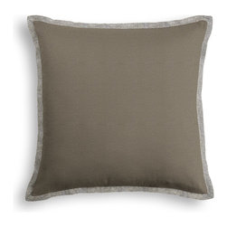 Taupe Textured Linen Tailored Pillow - The Tailored Throw Pillow is an updated, contemporary pillow style with the center fabric framed by a thin contrast flange.  Voila…it's artwork for your couch!  We love it in this taupe slubby linen with a slightly loose weave for a casual look.
