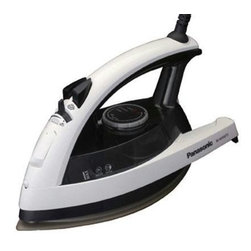 Panasonic - Panasonic Steam Iron With Spray Black - 1500 Watts Power Silver Titanium Curved Non-Stick Soleplate 3 Way Auto Shut-Off Electronic Temperature Control Jet of Steam / Self Cleaning Vertical Steam  Vents - Front side only Spray