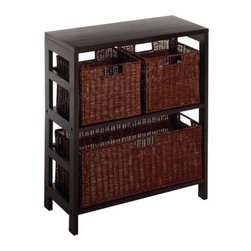 Winsome Trading, INC. - Winsome Wood 92649 Leo Decorative Storage Cabinet  with Baskets - Winsome Leo Storage Shelf with 3 Baskets... built to organize and beautify any room! Set up this wonderful Storage Shelf that details any room with elegant style while helping organize your belongings! With sturdy wooden construction and a great-looking espresso finish, youll be glad you accented your home with such a high-class item. Features 2 espresso storage baskets that fit perfectly on the top shelf, and a full-length basket that fits on the bottom. Dimensions: 11 1/4 x 25 1/4 x 29 1/4 weighs 33 lbs. Arrange your belongings with top-quality style! Order Today! Winsome Leo Storage Shelf with 3 Baskets