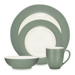 Noritake - Noritake Colorwave Green Rim 4-Piece Place Setting - A splash of color can create a wave of excitement at the dinner table. Ultra-modern stoneware sports a matte green glaze on the rim of the dinner and salad plates and exteriors of the bowl and mug.