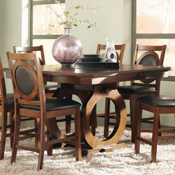 "Coaster - St John Counter Height Table, Oak - With bold character, create a stunning look in your dining room with this handsome dining table and chair set. The table features a two round carved pedestals in a beautiful oak finish giving it a charming feel. The table also extends from 42.25 inches to 54 inches, creating a spacious composition for family dinners, holiday meals, and dinner parties. The coordinating dining side chairs and arm chairs feature vinyl upholstered seats and seat backs that enhance the chair's alluring design.; Casual Style; Oak Finish; Dimensions: 42.25""- 54""L x 54""W x 36.50""H"