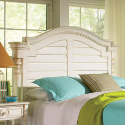 "Riverside Furniture - Placid Cove Arch Panel Headboard - Features: -Placid Cove collection. -Poplar hardwood solid and poplar veneer construction. Dimensions: -Full / Queen: 65"" H x 68.25"" W x 6.25"" D, 150 lbs. -King / California King: 67"" H x 84.25"" W x 6.25"" D, 176 lbs."