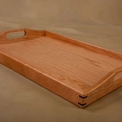 Serving Trays - Cherry Serving Tray from Tyler Morris Woodworking.  We offer our wooden serving trays in 4 American hardwoods; walnut, maple, cherry, and red oak. Strong and attractive, the corner joints of our serving trays are glued, then reinforced with walnut splines. Our wood serving trays are finished with three coats of satin, clear lacquer, which enables easy clean up of those inevitable spills.