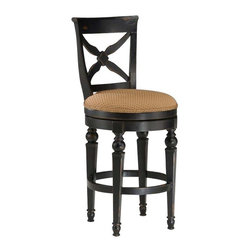 Hillsdale Furniture - Hillsdale Northern Heights Swivel Bar Stool in Black and Honey - The Northern Heights swivel stools are graced with sophisticated French country inspired carved legs and accented with a versatile fabric seat. The backs have a criss-cross-cross design that will enhance any formal or casual decor.