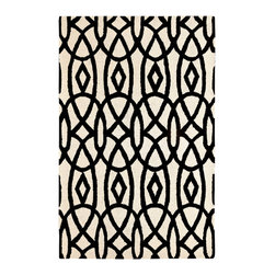 Dynamic Rugs - Dynamic Rugs Palace 5X8 5570-119 Ivory/Black - The Palace Collection creates a relaxed and capricious atmosphere. Modern patterns ranging from geometrics to more whimsical botanicals, these rugs deliver dramatic contrast and charm to any contemporary descor. A chic finishing touch to any modern living space, the Farahan Collection enhances today�s home with stylish charm.