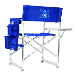 """Picnic Time - Duke University Sports Chair in Navy - The Sports Chair by Picnic Time is the ultimate spectator chair! It's a lightweight, portable folding chair with a sturdy aluminum frame that has an adjustable shoulder strap for easy carrying. If you prefer not to use the shoulder strap, the chair also has two sturdy webbing handles that come into view when the chair is folded. The extra-wide seat (19.5"""") is made of durable 600D polyester with padding for extra comfort. The armrests are also padded for optimal comfort. On the side of the chair is a 600D polyester accessories panel that includes a variety of pockets to hold such items as your cell phone, sunglasses, magazines, or a scorekeeper's pad. It also includes an insulated bottled beverage pouch and a zippered security pocket to keep valuables out of plain view. A convenient side table folds out to hold food or drinks (up to 10 lbs.). Maximum weight capacity for the chair is 300 lbs. The Sports Chair makes a perfect gift for those who enjoy spectator sports, RVing, and camping.; College Name: Duke University; Mascot: BlueDevils; Decoration: Digital Print; Includes: 1 detachable polyester armrest caddy with a variety of storage pockets designed to hold the accessories you use most"""