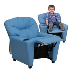 "Flash Furniture - Contemporary Light Blue Vinyl Kids Recliner with Cup Holder - Kids will now be able to enjoy the comfort that adults experience with a comfortable recliner that was made just for them! This chair features a strong wood frame with soft foam and then enveloped in durable vinyl upholstery for your active child. Choose from an array of colors that will best suit your child's personality or bedroom. This petite sized recliner will not disappoint with the added cup holder feature in the armrest that is sure to make your child feel like a big kid!; Child's Recliner; Overstuffed Padding for Comfort; Light Blue Vinyl Upholstery; Easy to Clean with Damp Cloth; Easy to Clean with Damp Cloth; Cup Holder in armrest; Solid Hardwood Frame; Raised Black Plastic Feet; Intended use for Children Ages 3-9; 90 lb. Weight Limit; CA117 Fire Retardant Foam; Safety Feature: Will not recline unless child is in seated position and pulls ottoman 1"" out and then reclines; Weight: 29 lbs; Overall Dimensions: 24.5""W x 25"" - 39""D x 28""H"