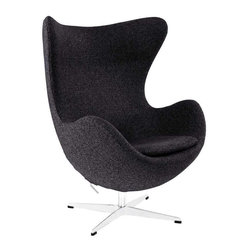 Modway - Glove Wool Lounge Chair in Dark Gray - The Glove Chair provides evidence of movement in design to adapt more organic forms into our living spaces. Designed to remind us of the natural world, this chair provides sheer comfort and relaxation. Get back to nature with the Glove Chair.