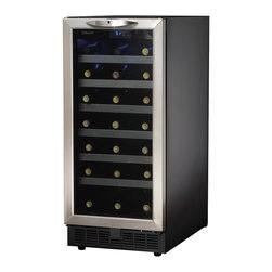 "Danby - 34 Bottle Built-In Wine Cooler - With Danby's DWC1534BLS 3.3 Cu. Ft. 34-Bottle Silhouette Wine Cooler you can get rid of the trash compactor and make room for a contemporary replacement. At 15 inches wide, this trendy wine cooler can chill up to 34 bottles of your favorite wine. The cool blue LED track lighting system illuminates the interior without the heat of an incandescent bulb. The reversible hinge for either left or right opening, ensures this wine cooler will fit perfectly anywhere you want it.34 bottle (3.7 cu. ft.) capacity|Temperature range of 4�C - 18�C (39.2�F - 64.4�F)|Cool blue LED track lighting system illuminates interior without the heat of an incandescent bulb|Elegant tempered glass door with stainless steel trim|Safety lock with key|Electronic thermostat with LED display|Frost free operation|Integrated application (Intended for 15"" cabinet openings)