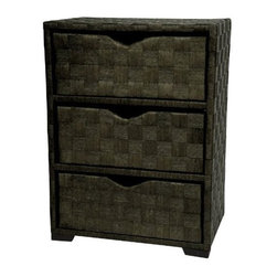 "ORIENTAL FURNITURE - ""Oriental Furniture 3-Drawer Natural Fiber Wicker Style End Table, B..."" - ""Simple, elegant, unique 3 or 5 drawer end table or nightstand cabinets, from our distinctive collection of remarkably strong, light weight, spun plant fiber furnishings. chests of drawers, shelf units, clothes hampers, occasional tables and more, these are practical, beautiful, Japanese design furnishings, crafted from tough spun plant fiber cord, deep dyed in rich, warm, earth tone colors. the light weight wood frames are made structurally strong and durable by the tight, cross weave pattern of the design, creating inexpensive, lightweight and subtly appealing furniture and decor. ships within one business day from your order, professionally packed fully insured from our Massachusetts warehouse, via fed ex, with expedited delivery available. browse our entire line of practical, beautiful, natural fiber Japanese design furnishings and decor, area rugs, window treatments, tatami mats, Japanese lamps, lovely wall art, sliding doors, tansus, as well as one of the web's largest selection.Dimensions (W x L x H): 19"""" x 11.5"""" x 41.5""""Weight: 20 lbs.Simple Japanese design 2 sizes, 2 dwr. (25"""" t by 19"""" w by 12"""" d), 3 dwr. (39"""" t by 19"""" w by 12"""" d)Beautiful, deep dyed spun plant fiber cord in black, mocha, mahogany, white or honeyUnique, distinctive, ultra practical storage, great end table, nightstand or lamp tableBrowse our collection of colorful, beautiful, durable, light weight natural fiber furniture"""