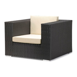 Zuo Modern - Zuo Cartagena Armchair in Espresso - Armchair in Espresso belongs to Cartagena Collection by Zuo Modern One of Zuo's favorite. Enjoy perfect seating and comfort, while the design, looks and style create a perfect ambiance for a relaxing evening or a fun party. The Cartagena collection is a modular outdoor set, capable of seating a sectional, loveseat, armchair and coffee table. The frames are constructed from epoxy coated aluminum and the weave from UV treated polypropylene for maximum resistance against the weather elements. The Table has a 10 mm thick clear tempered glass top, and the cushions are made with a UV and moisture resistant washable polyester fabric. The Cartagena has the looks and comfort that gives your patio, terrace, porch or backyard a contemporary and elegant look. Don't forget to accentuate your Cartagena with some colorful Laguna cushions. Armchair (1)