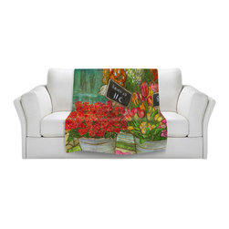 DiaNoche Designs - Throw Blanket Fleece - Diana Evans The Paris Flower Shop - Original Artwork printed to an ultra soft fleece Blanket for a unique look and feel of your living room couch or bedroom space.  DiaNoche Designs uses images from artists all over the world to create Illuminated art, Canvas Art, Sheets, Pillows, Duvets, Blankets and many other items that you can print to.  Every purchase supports an artist!