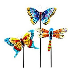 Assorted Glass Butterfly And Dragonfly Stakes - Time to plant your spring garden! You can brighten up the space with these fun garden stakes.