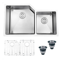 Ruvati - Ruvati RVH8150 Kitchen Sink Double Bowl - Gravena offers a modern, linear style with square / rectangular bowls. The tight radius corners of the bowls make it easy to clean around the linear edges of Gravena sinks. The rear drain placement ensures dishes don't settle on the drain and prevent water flow while the drain grooves in the basin channel water towards the drain, keeping your sink clean and dry.