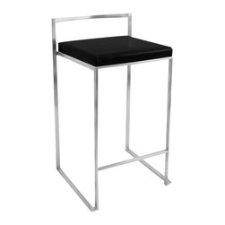 Lumisource - Fuji Stacker Counter Stool Black - The simple elegance of the Fuji Counter Stool belies its astonishing comfort. Lightweight stainless steel legs and backrest support a thick padded leatherette cushion. Features a stackable design for easy storage. With its simple elegance, the Fuji Counter Stool is sure to match any decor. Also available in bar height.