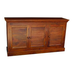 YOSEMITE HOME DECOR - Shutter Door Storage Crendenza - This solid mango storage chest features three faux shutter doors. Three single solid mango shelves provide for ample storage space. Shown in a soft fruitwood finish w/color matching wood knobs. Assembled and made in India.    Item Dimension in 60inches Width X 16inches Depth X 33inches Height
