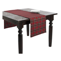 Saro - Plaid Holiday Table Runner, Red - Set the table in classic holiday plaid for a traditional table setting.