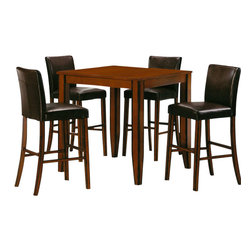 Canterbury Home Furnishing - Canterbury Denton 5 Piece 32x32 Bar Set in Roasted Cocoa - Clean lines and undeniable style - the main theses of Denton Collection. Canterbury Denton 32x32 Inch 5 Piece Pub Set reflects a design suitable for any kitchen, to any requirement. Indulge yourself in the pleasure to use high-grade furniture, created from high quality materials, embodied in perfect shape.