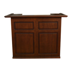 Trenton Bar, Suede - This stately solid wood bar looks totally refined from every angle. With space for a fridge to hold your ice and chilled drinks, and ample shelving for liquor and glasses, you'll be all set to have your very own ultra-classy home bar.