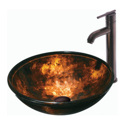 Vigo - Vigo Brown and Gold Fusion Glass Vessel Sink and Faucet Set - Every day is as lovely as this in. Brown and Gold Fusionin.  beautiful Vigo glass vessel sink and faucet set. Durability, design and style put this set on another level.