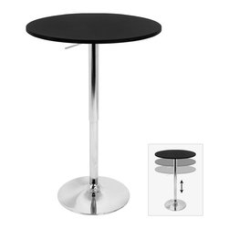 LUMISOURCE - Lumisource Adjustable Bar Table, Black - The new and improved Adjustable Bar Table is the definition of versatility. Hydraulics allow the table to be usable as an intimate table for two or a bar table at a party! Choose from a variety of table top material options and assemble with ease with its new tool-less assembly feature! Also seen on pages 3, 5, 7, 13, 14, 17, 28, 34 and 38.