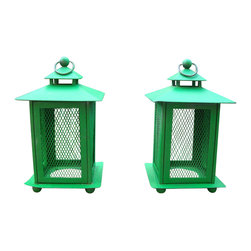 Consigned Rustic French Farmhouse Green Metal Lanterns - A sweet rustic pair of vintage French Country farmhouse green metal lanterns. Great vintage patina with a few characteristic dings. Fabulous candle covers for indoors or out! 5.0ʺW × 5.0ʺD × 8.5ʺH