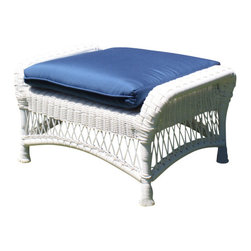 Wicker Paradise - Princeton Wicker Ottoman - White - Lazy summer afternoons are a lot more relaxing when you have an ottoman like this one. Sit back and put your feet up on our most comfortable Princeton ottoman. This ottoman comes with a plush cushion in Sunbrella Sapphire Blue fabric. It is made of resin wicker and built on an aluminum frame for total outdoor use.