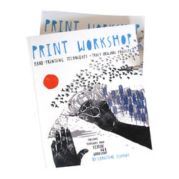 "Yellow Owl Workshop - Print Workshop Book - Christine's book ""Print Workshop: Hand-Printing Techniques + Truly Original Projects"" is jam packed with practical info and fun projects so you can play with printmaking at home. Custom stamp carving, stenciling, cyanotype printing, screen printing and image transfer techniques are used to create handmade gems chocked full o' Yellow Owl goodness!"