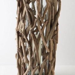 Driftwood Hurricane, Tall - This driftwood hurricane is an easy way to add a woodland touch to a buffet, side table or fireplace mantel.