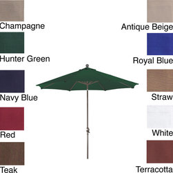 Phat Tommy - PHAT TOMMY 9 Foot Olefin Aluminum Market Patio Umbrella - This 9-foot market umbrella from Phat Tommy features an aluminum pole and 8 rib construction. The thick polyester cover opens and closes with a crank system, while brass-plated fittings give it an attractive shine.
