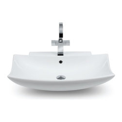 CeraStyle - Curved Rectangular Ceramic Sink - This curved rectangular white ceramic bathroom sink is ADA Compliant. The sink can be used as a wall mounted or above counter vessel sink. It includes a single overflow and faucet hole. Made and manufactured by luxury Turkish brand CeraStyle.