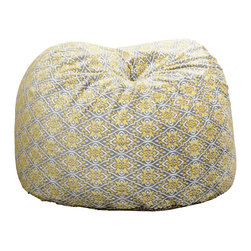 Great Deal Furniture - Ashley 3-Ft Yellow Ikat Pattern Fabric Bean Bag Chair - Lounge in style with the Ashley 3-foot yellow ikat fabric bean bag. This unique pattern and plush fabric makes this an inviting piece for any adult or child. Its microfiber ikat pattern fabric is soft to the touch and the colors will pop among almost any decor. Made in the United States with an eco-friendly foam filler, this bean bag offers a luxurious and comfortable option to your in home lounging experience.